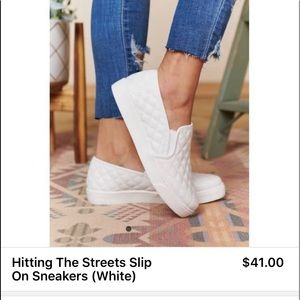 White quilted slip on shoes